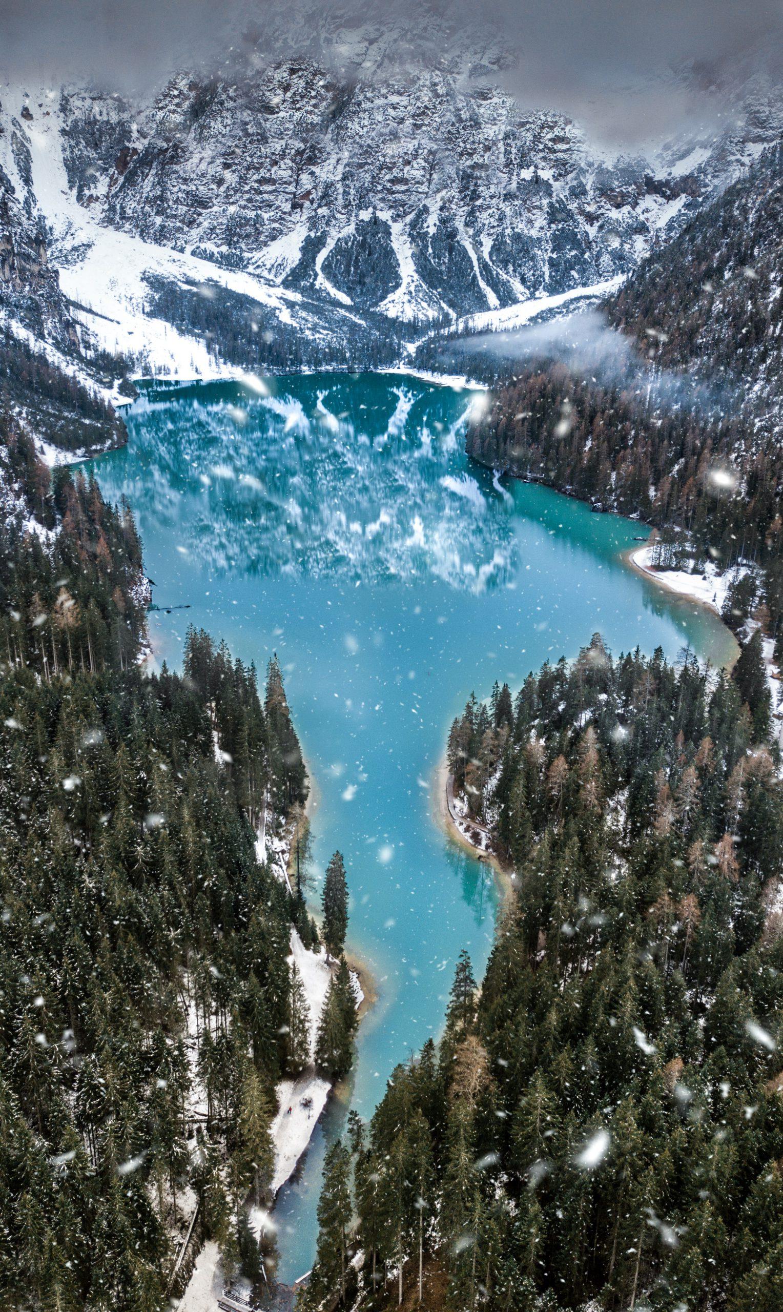 braies lake lago inverno